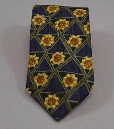 Mens Necktie Tie Silk Ermenegildo Zegna Sunflower Diamonds Italy Italian Trellis   eBay