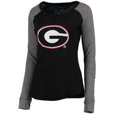Women's Black Georgia Bulldogs Preppy Elbow Patch Slub Long Sleeve T-Shirt