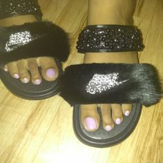 98d7b09b7f7338 Fur Nike Slides. Symirh Brooks added a photo of their purchase. Stacidodds  · Sandals