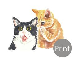 Cat Watercolor PRINT  Animal Illustration by WaterInMyPaint, $18.00