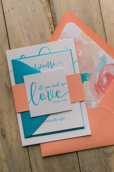 CHELSEA Suite Floral Package, watercolor wedding invitation, coral, turquoise, brush script, calligraphy font, peonies