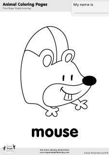 Free mouse coloring page from Super Simple Learning. Tons of free animal worksheets and flashcards at www.supersimplelearning.com/resource-room. #kindergarten #preK #ESL