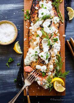 The Noshery | Cedar Plank Salmon and Herb Yogurt | http://thenoshery ...