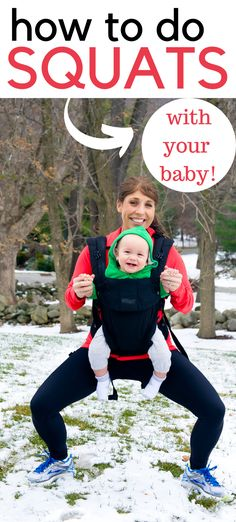 Do squats holding your baby for a great mommy and me exercise challenge!  You'll love this babywearing exercise.  Squats are great for toning the legs and glutes!