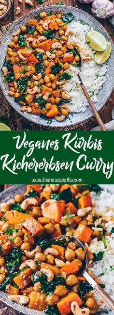 Kürbis-Kichererbsen-Curry (vegan, einfaches Rezept) This creamy vegan pumpkin-chickpea curry with spinach is the perfect feel-good meal. It tastes so delicious, is healthy, easy to prepare, and is ready in less than 25 minutes! Vegan Curry, Chickpea Curry, Clean Eating, Healthy Eating, Vegetarian Recipes, Healthy Recipes, Vegetarian Grilling, Healthy Grilling, Le Diner