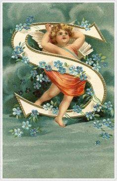 Tuck Alphabet letter S postcard, Used 1912 Vintage Cards, Vintage Postcards, Vintage Images, Alphabet Cards, Alphabet And Numbers, Monogram Alphabet, Images Victoriennes, Vintage Illustration, Etiquette Vintage