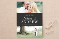 """""""New Modern"""" - Classical, Modern Save The Date Cards in Charcoal by Stacey Meacham."""