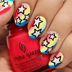 Faça suas unhas a estrela com esta manicure fresca … - Design de Unhas Pink Nail Art, New Nail Art, Glitter Nail Art, Blue Nails, White Glitter, Sparkle Nails, Dark Nails, Purple Glitter, White Nails