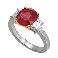 RR16594: Undeniably beautiful in its simplicity, this ring needs nothing more than its 2.03ct ruby center stone and 0.49ct G/VVS baguette diamonds set in platinum. | www.goldcasters.com