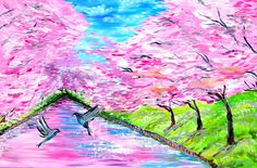 "Painting, wall art, canvas art, cherry blossom painting, art, paintings, Japanese art, tree of life painting, pink, and, blue,LARGE, 36""x24"""
