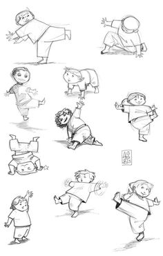 Some sketches of kids doing capoeira.