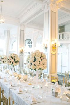 Elegant Tall White Hydrangea Centerpiece | photography by http://melindahumphries.com