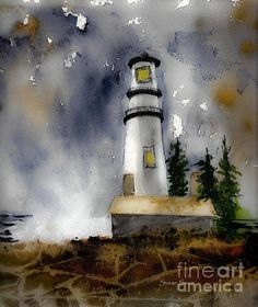 Watercolor of an Oregon lighthouse