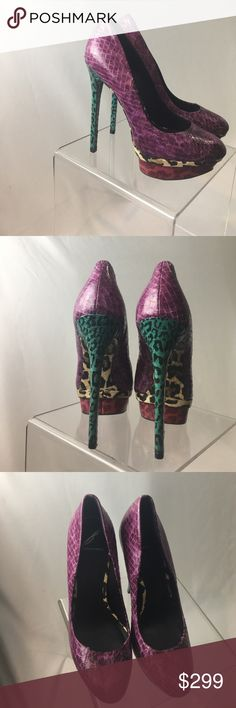 Brian Atwood embossed leather heels Gorgeous, unique Brian Atwood embossed leather heels. Purple body with cream and teal leopard detail on heels and underneath. In perfect condition - Only been worn once. Brian Atwood Shoes Heels