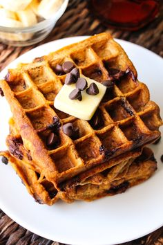Healthy Pumpkin Chocolate Chip Waffles.