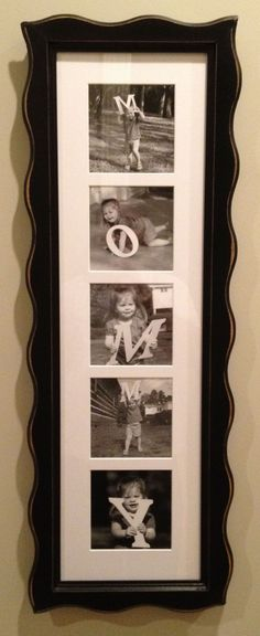 """Did this for Mom for mothers day.  I got wooden letters and painted them, then took photos and got them framed.  I plan on doing it every few years as the kids grow up."" #mothersday #diygift #photogift"