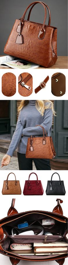 US$29.99  Women Crocodile High-End Vintage PU Leather Handbag
