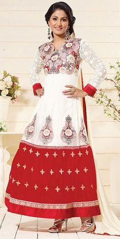 USD 27.06 Akshara White Georgette Anarkali Suit 42753