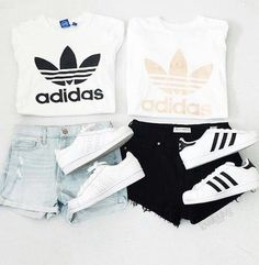 If you love comfortable clothes than these sporty outfits are perfect choose for you. Let yourself get inspired with chic selection of the most valuable sports brand Adidas and vote for your favorite look. Sporty Outfits, Summer Fashion Outfits, Cute Casual Outfits, Cute Addidas Outfits, Teenage Girl Outfits, Outfits For Teens, Looks Adidas, Best Friend Outfits, Outfit Trends