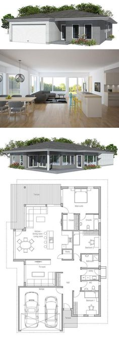Beautiful Modern House Plan With Covered Terrace. Garage For Two Cars, United Dining  U0026 Living