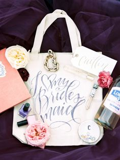 Bridesmaid favors - love the calligraphy on that bridesmaid tote bag! Homemade Wedding Favors, Elegant Wedding Favors, Unique Wedding Favors, Gifts For Wedding Party, Wedding Wishes, Party Gifts, Wedding Bells, Wedding Stuff, Dream Wedding