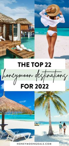 Planning a honeymoon in 2022? Explore the best destinations from around the world for your honeymoon with this guide. You'll find all-inclusive honeymoon resorts, overwater bungalow resorts and the best luxury hotels. Click to book your dream honeymoon at Honeymoon Goals. Top 10 Honeymoon Destinations, All Inclusive Honeymoon Resorts, Jamaica Honeymoon, Caribbean Honeymoon, Affordable Honeymoon, Honeymoon Outfits, Romantic Destinations, Romantic Places, Travel Destinations
