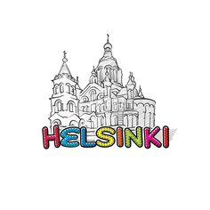 Helsinki beautiful sketched icon by #Hebstreit #stockimage #capital #travel #beautiful #sketch #greetingcard #design #famous #landmark