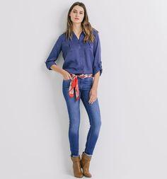 Unicolour silky shirt dark blue - Promod