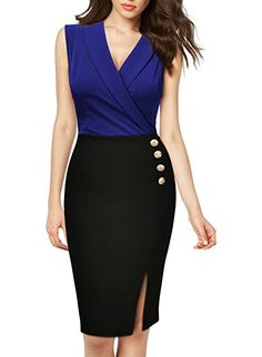 Missmay Women's Workwear Business Lapel Sleeveless Cocktail Party Pencil Dress Blue