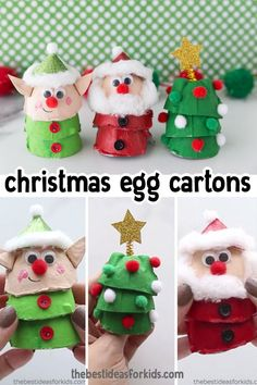 Weihnachtsfiguren aus Eierkartons basteln Make these cute egg carton Christmas crafts - choose from an elf, Santa or Christmas tree! These are easy to make with step-by-step instructions. Preschool Christmas, Christmas Activities, Christmas Crafts For Kids, Simple Christmas, Kids Christmas, Holiday Crafts, Christmas Decorations, Christmas Manger, Homemade Christmas