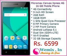 Micromax Canvas Xpress 4G 16 GB Mobile Phone Rs 6599