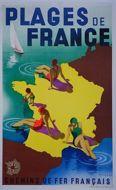 Vintage travel Posters Plages de France - beaches of france #riviera #essenzadiriviera.com
