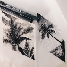 tropical sunset - Tattoo design- dotwork
