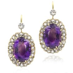 Our Antique amethyst and diamond earrings feature a pair of fine dark purple amethysts surrounded by rose cut diamonds and a stunning 10 claw centre setting. Amethyst Earrings, Pendant Earrings, Diamond Earrings, Amethyst Jewelry, Rose Cut Diamond, Diamond Ice, Purple Amethyst, Purple Quartz, Jewellery Display