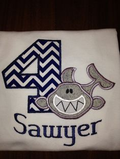 Shark birthday shirt by PeasAndPeanuts on Etsy, $22.00