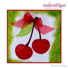 Cherries Applique, Large - 6 Sizes! | Fruit/Vegetables | Machine Embroidery Designs | SWAKembroidery.com Embroitique