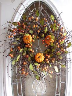 Fall Wreaths for Front Door | Pumpkin Wreath - Fall Wreath - Autumn Wreath - Front Door Wreath. $49 ...