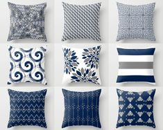 Throw Pillow Cover, Pillow Covers, Navy White Grey, Accent Pillows, Cu – HLB Home Designs Navy Living Rooms, Coastal Living Rooms, Living Room Decor, Navy And White Living Room, Navy White Bedrooms, Grey Living Room With Color, Dining Room, Pillow Cover Design, Decorative Pillow Covers