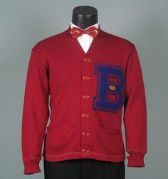 Vintage Mens 1950s 1960s Sweater -- Vibrant Red Wool Lettermans Varsity Sports Cardigan -- Letter B Football
