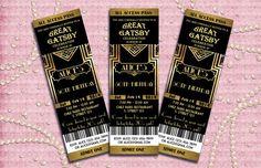 The Great Gatsby Birthday Party Invitation - Art Deco -Printable, DIY