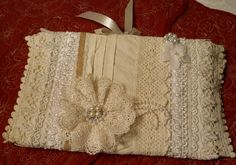 A Journal, Notebook, Guest Book, which is really a cover and can be used over and over again, as the Notebook/Journal can slip in there. Hand it down as an Heirloom in the future, so many precious uses. Made of vintage lace, from my Great-Grandmother's hand crocheted standard pillow edges, (think late 1890's) mixed with …