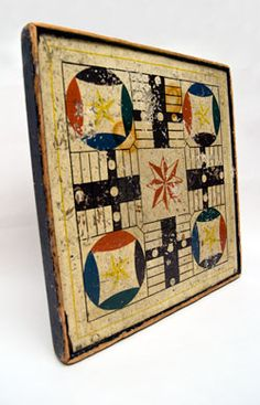 """Parchesi- one of the oldest games played, worldwide! It originated as a life-size game—the ruler of India played it in his garden, using pretty young women as the pawns. As for the """"home"""" they moved toward? That was the center of the garden, where the emperor sat."""
