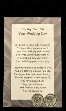 My-Our Son on Your Wedding Day Poem & Pocket Token Gift Set, Parents of the Groom, Wedding Day, Gift Wedding Day Quotes, On Your Wedding Day, Wedding Tips, Wedding Speeches, Wedding Card Verses, Wedding Sayings, Wedding Stuff, Wedding Planning, Wedding Ceremonies
