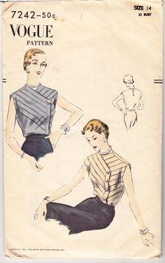 "Vintage Sewing Pattern Vogue 7242 Ladies' Blouse 32"" Bust- Free Pattern Grading…"