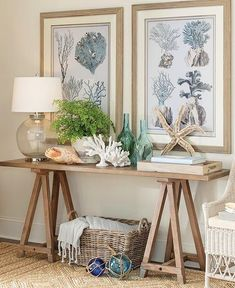 Beach House Decor - Birch Lane Console Table with Beach Decor - Entryway Idea Coastal Entryway, Coastal Living Rooms, Coastal Wall Art, Entryway Decor, Entryway Console, Nautical Entryway, Foyer, Bedroom Decor, Seaside Home Decor