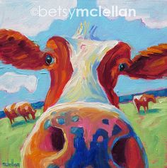 Cow Original Painting by betsymclellanstudio, $35.00