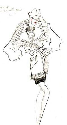 1990's - YSL coat Sketch illustration. Với áo khoác ngoại cỡ ( oversize ) mang phong cách girl power