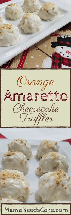 Orange Amaretto Cheesecake Truffles Orange Amaretto Cheesecake Truffles Recipe- I enjoy making truffles during the Holiday season and this year I wanted to make something different Cheesecake Truffles Recipe, Amaretto Cheesecake, Truffle Recipe, Candy Recipes, Cookie Recipes, Dessert Recipes, Holiday Recipes, Christmas Recipes, Dessert Ideas