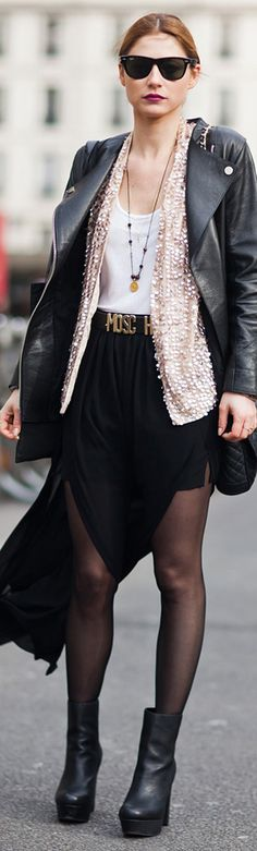 Leather, sequins, white tank, sheer black tights, black booties. Fall here I come.