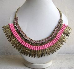 Gold Necklace/Pink Statement Necklace/Bib by FootSoles on Etsy
